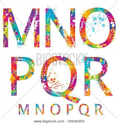Font - Colorful letters with drops and splashes from M to R. Vector illustration.