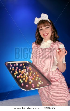 Candy Striper Passes Out Hearts
