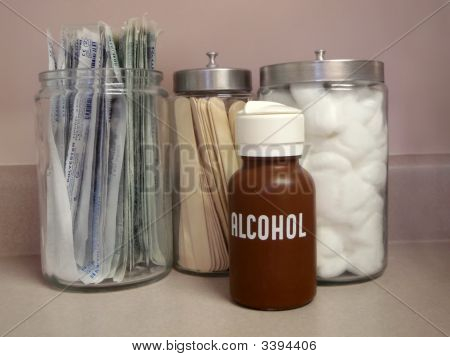 Medical Supply Jars In A Doctor'S Office
