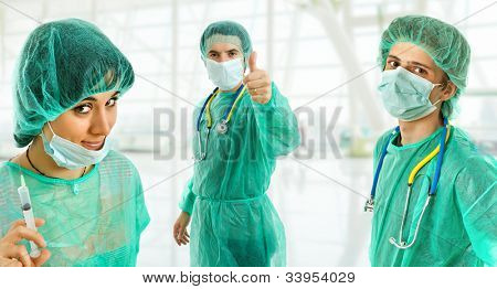three young doctors at the hospital