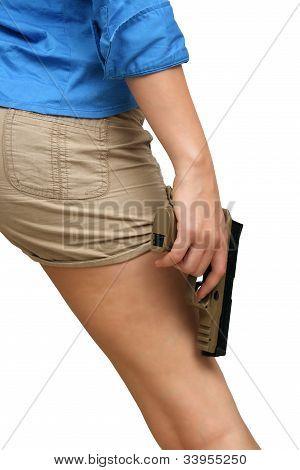 Woman Holding A Modern Handgun