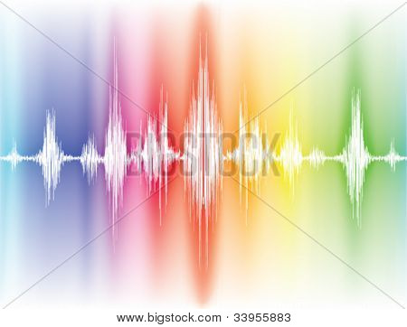 colorfull sound waves on white background