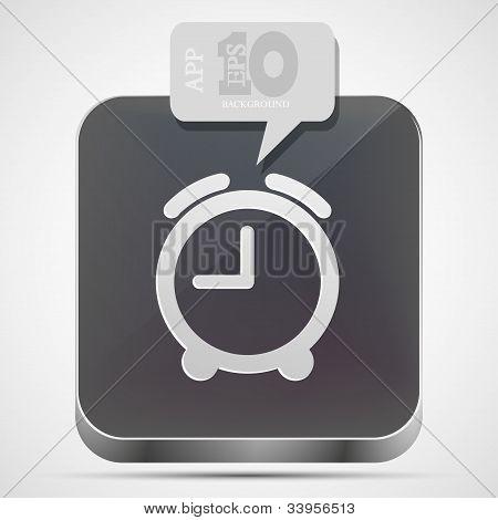 Vector Alarm Clock App Icon With Gray Bubble Speech. Eps10