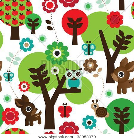 Seamless farm owl tree animal pattern background in vector