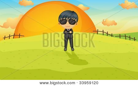 Illustration of a bodyguard in a field