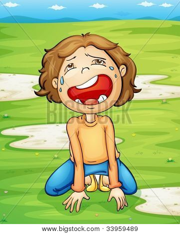 Illustration of a child crying