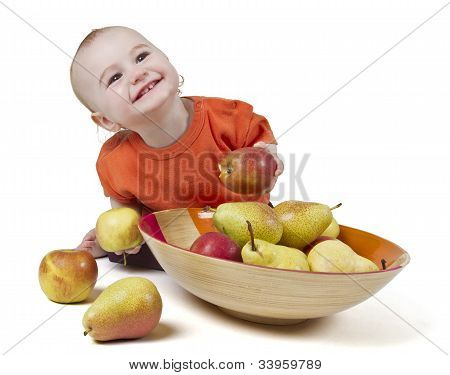 Baby With Apples And Pears