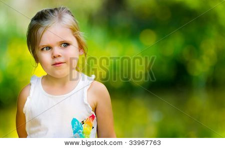 Portrait Of A Little Girl Looking Into Space