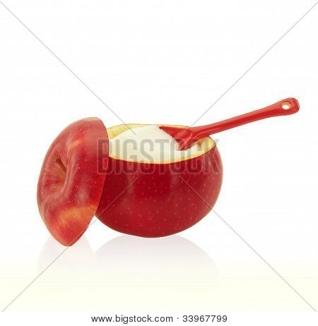 Sugar Bowl Made Of Red Apple With Fructose Inside