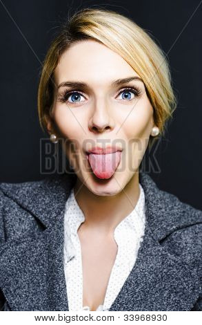 Cheeky Business Woman Sticking Out Tongue