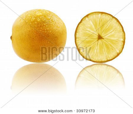 Fresh Fully Ripe And Sliced Lime In Vibrant Yellow Color With Water Drops & Clipping Path