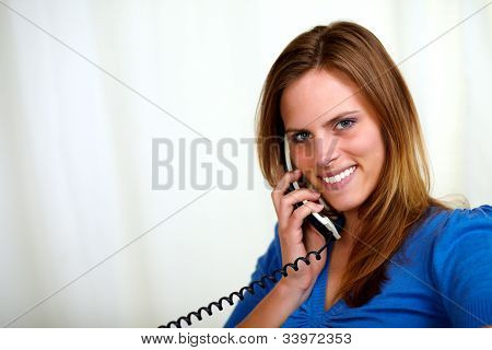 Blonde Friendly Young Lady On Phone