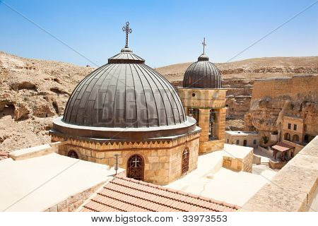 Greek Orthodox monastery Great Lavra of St. Sabbas the Sanctified (Mar Saba) in Judean desert. Palestine, Israel.