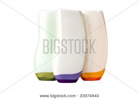 Cosmetic Bottles Isolated On Wtite Background