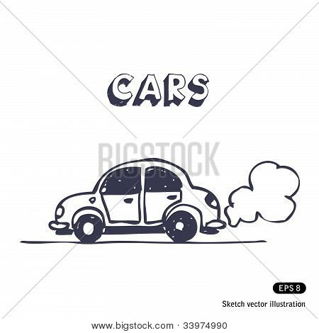 Cartoon car blowing exhaust fumes