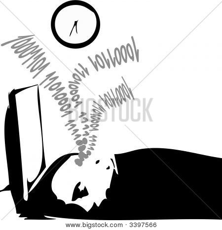 Man Asleep In Front Of His Monitor