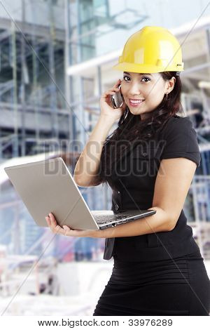 Attractive Female Architect At Workplace