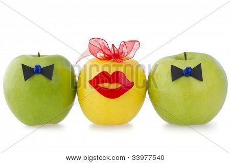 Three Apples As A Concept Of Competition Between Two Male over One Female