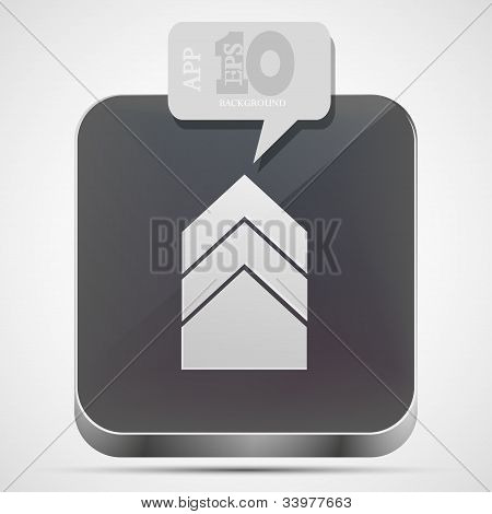 Vector Arrow App Icon With Gray Bubble Speech. Eps10