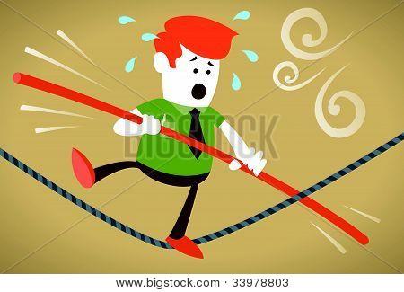 Corporativo chico camina la cuerda floja