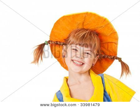 Giggling sweet girl in an orange hat