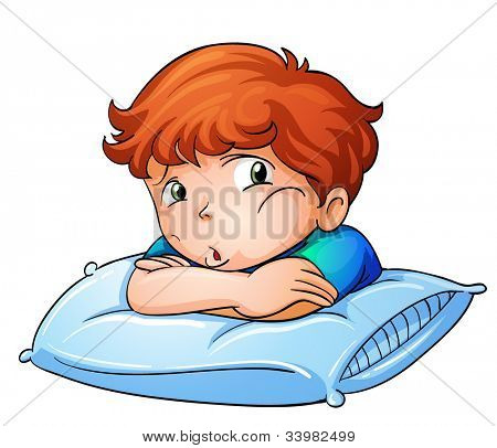 Illustration of a bored boy on pillow -