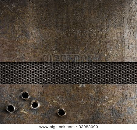 bullet holes in metal background