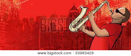 Illustration of a saxophonist on a grunge cityscape background