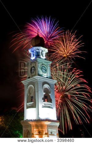 Beautiful Fireworks With Clock Tower