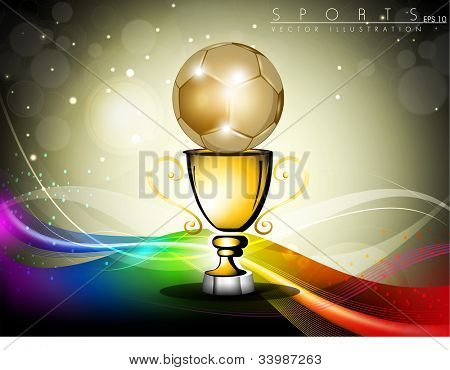 Golden trophy or golden cup with golden globe on colorful wave background. EPS 10.