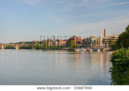 Washington DC - Key Bridge and Georgetown with Potomac River panoramic view