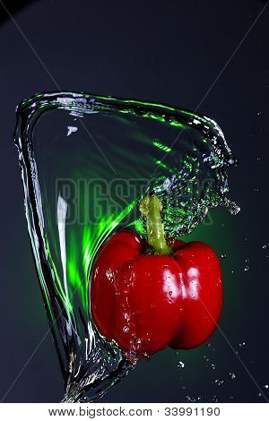 Wave Of Water On A Pepper.