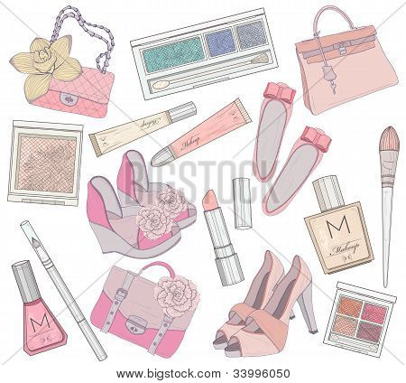 Women Shoes, Makeup And Bags Element Set. Cosmetic Product, Footwear, Purses And Accessories