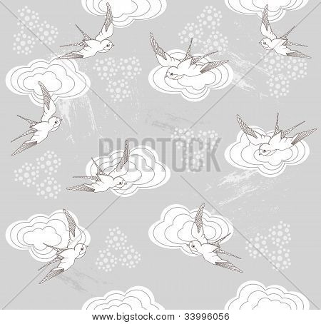 Cute Seamless Swallow And Cloud Pattern