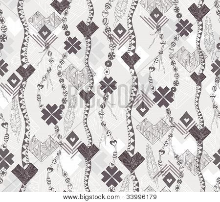 Abstract Geometric Seamless Pattern. Native Style Pattern With Hearts.