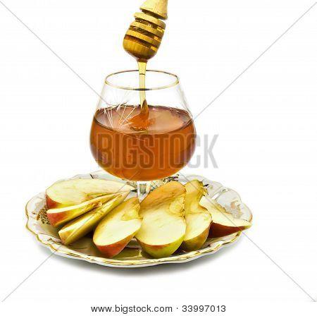 Honey and apple are symbols of Jewish New Year (Rosh hashana)