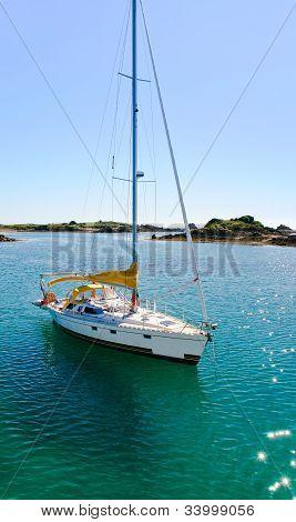 Yacht In La Manche Near Ile De Brehat, Brittany