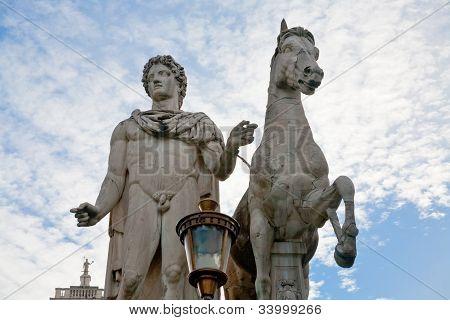 Statue On Piazza Del Campidoglio In Rome