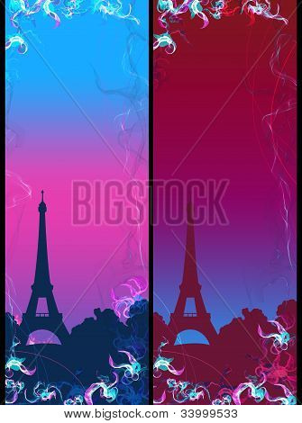Abstract France Eiffel tower flower background