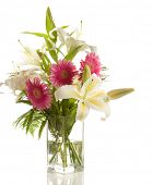 pic of asiatic lily  - a bunch of lilies and gerberas in the transparent vase  isolated  on the white background - JPG