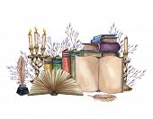 Hand Drawn Watercolor Illustration A Pile Of Old Books, Ink Bottle, Ink Feather, Floral Twig, Open B poster