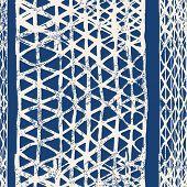 Indigo And White Watercolor Shoji Design. Kimono Tile.  Shibori Seamless Pattern. Tie Dye Abstract T poster