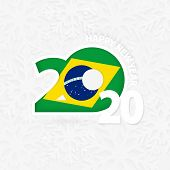 Happy New Year 2020 For Brazil On Snowflake Background. Greeting Brazil With New 2020 Year. poster