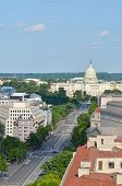 Washington DC - Aerial view of Pennsylvania street with federal buildings including US Archives buil