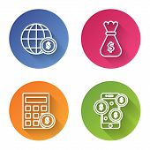 Set Line Earth Globe With Dollar Symbol, Money Bag, Calculator With Dollar Symbol And Smartphone Wit poster
