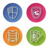Set Line Football Club Logo Template, American Football Helmet And Shield, American Football Field A poster