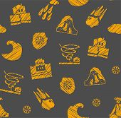 Weather, Natural Disasters, Seamless Pattern, Gray-orange, Hatching, Vector. Images Of Various Natur poster