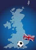 Постер, плакат: Карта Великобритании с флагом и футбольный мяч иллюстрация