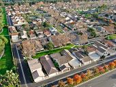 Aerial View Of Middle Class Suburban Neighborhood With Houses Next To Each Other In Irvine, Californ poster