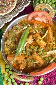 image of paneer  - Indian vegetarian dish with paneer and peas in a spicy sauce - JPG